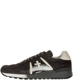 Замшевые серые кроссовки на шнуровке Premiata