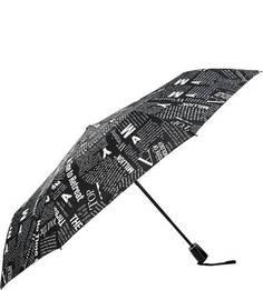 Черный складной зонт с принтом Doppler