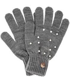 Вязаные перчатки с бусинами Guess