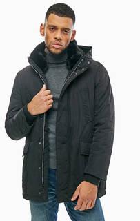 Удлиненная черная куртка со съемным капюшоном Geox