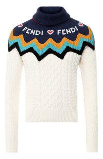 Кашемировый пуловер с высоким воротником Fendi