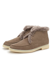 Замшевые ботинки Walk And Walk с внутренней меховой отделкой Loro Piana