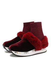 Текстильные кроссовки Ruby с отделкой из меха кролика Premiata