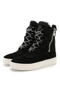 Высокие замшевые ботинки на шнуровке DKNY