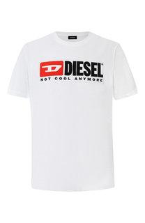 Хлопковая футболка с логотипом бренда Diesel