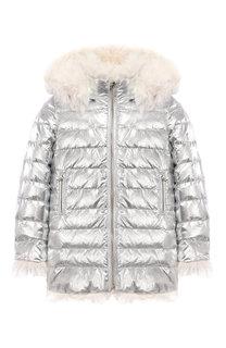 Двусторонняя куртка с меховой отделкой Yves Salomon Enfant