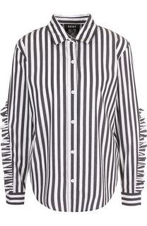 Хлопковая блуза с оборками в полоску DKNY