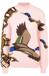 Вязаный пуловер из смеси хлопка и кашемира с декоративной вышивкой Burberry