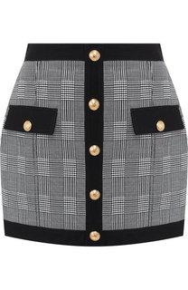 Хлопковая мини-юбка с контрастными пуговицами Balmain