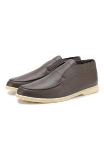Кожаные ботинки Open Walk без шнуровки с внутренней меховой отделкой Loro Piana