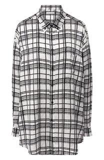Шелковая блуза в клетку Balenciaga