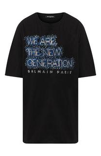 Хлопковая футболка с декоративной отделкой Balmain