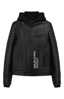Кожаная куртка с молнией и капюшоном Philipp Plein
