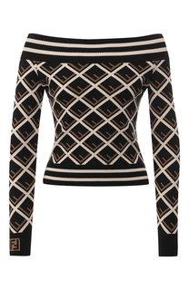Пуловер с принтом и открытыми плечами Fendi
