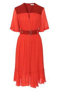 Платье-миди с поясом и V-образным вырезом Chloé