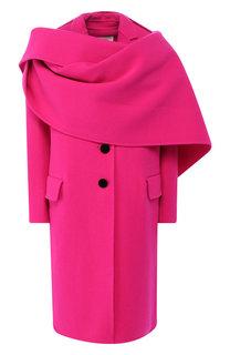 Шерстяное пальто с объемным воротником Marc Jacobs