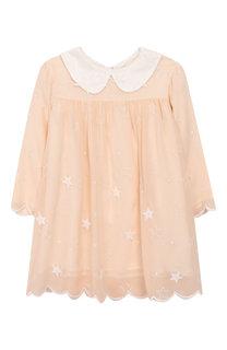 Шелковое платье свободного кроя с аппликациями Chloé