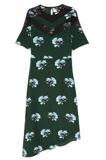 Платье с принтом и кружевной отделкой Maje