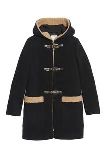 Черное пальто с контрастной отделкой Sandro