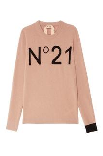 Розовый джемпер с логотипом No.21