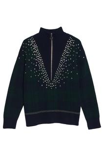 Комбинированный свитер с отделкой Sandro