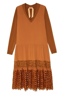 Коричневое платье с ажурной отделкой No.21