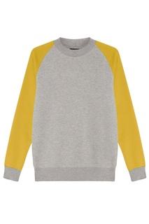 Серый свитшот с желтыми рукавами Blank.Moscow