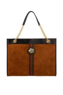 Замшевая сумка с отделкой Gucci