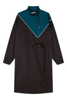 Черное с бирюзовым платье миди