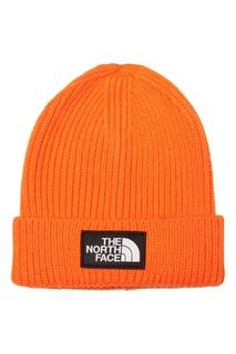 Оранжевая шапка с логотипом The North Face
