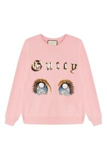 Розовый свитшот с блестящими аппликациями Gucci