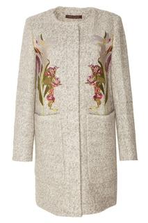 Серое пальто с вышивкой Adolfo Dominguez