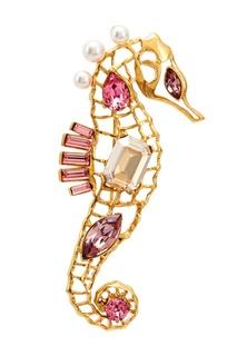 Брошь Crystal seahorse с розовыми кристаллами Oscar de la Renta