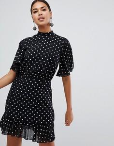 Разноцветное платье мини в горошек с рукавами-кимоно Boohoo - Черный