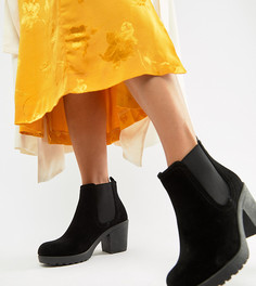 Черные ботинки челси для широкой стопы на массивном каблуке Boohoo - Черный