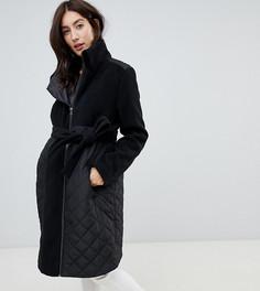 Утепленное пальто с добавлением шерсти на молнии для беременных Mamalicious - Черный Mama.Licious