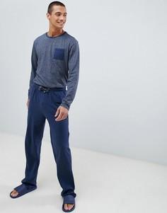 Хлопковый пижамный комплект темно-синего цвета с длинными рукавами Tokyo Laundry - Темно-синий