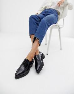 Кожаные туфли на плоской подошве с заостренным носком ASOS DESIGN Manzo - Черный