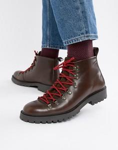 Коричневые кожаные ботинки в походном стиле на шнуровке ASOS DESIGN - Коричневый