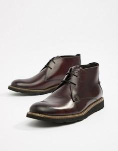 Темно-бордовые кожаные ботинки со шнуровкой Original Penguin - Красный