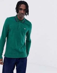 Зеленый лонгслив-поло из пике с логотипом Tommy Jeans Classic - Зеленый
