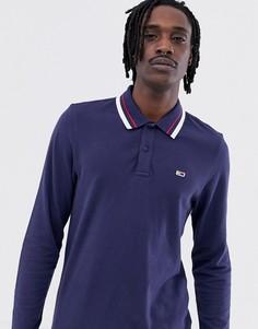 Темно-синий лонгслив-поло из пике с логотипом Tommy Jeans Classic - Темно-синий