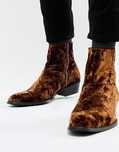 Бархатные ботинки челси в стиле вестерн на кубинском каблуке ASOS DESIGN - Золотой