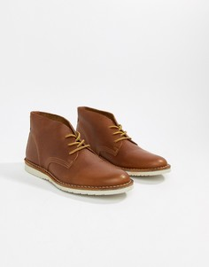 Светло-коричневые кожаные ботинки чукка Office Identity - Рыжий
