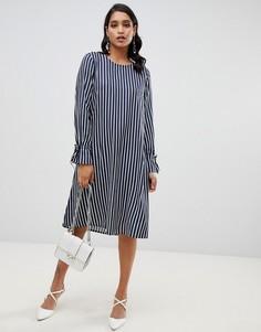 Платье в полоску с завязками на рукавах Y.A.S Strey - Темно-синий