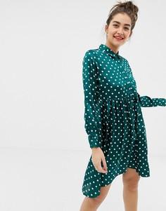 Атласное платье-рубашка в горошек с асимметричным краем Influence - Зеленый