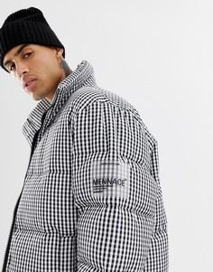 Дутая куртка в клетку Mennace - Черный