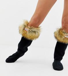 Толстые носки до колен с рыжевато-коричневым искусственным мехом на манжете Hunter - Бежевый