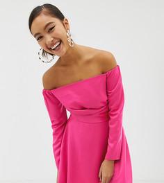 Короткое приталенное платье с открытыми плечами COLLUSION - Розовый