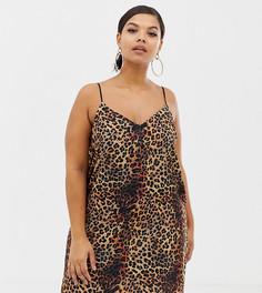 Платье мини на бретельках с леопардовым принтом COLLUSION Plus - Мульти